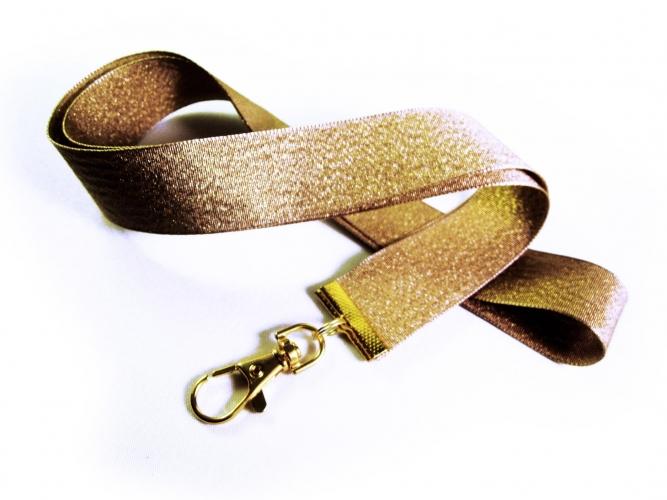 Goldfarbenenes Schlüsselband mit Messing Karabinerhaken