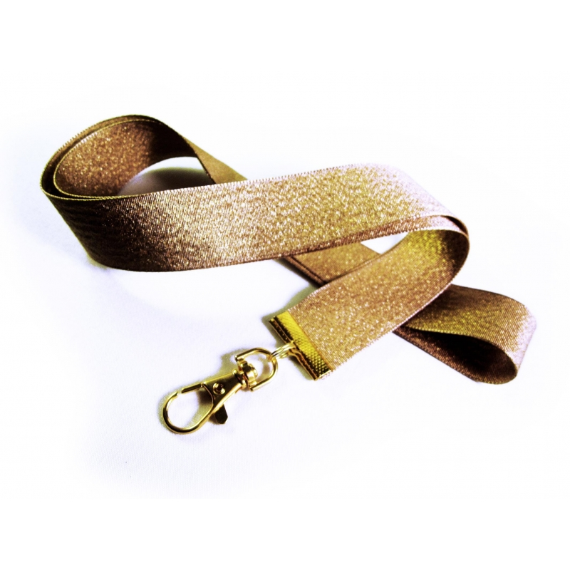 Goldenes Schlüsselband mit Messing Karabinerhaken