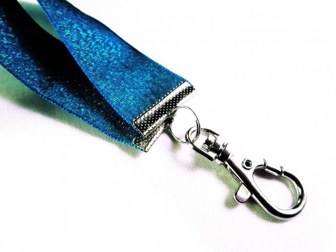 Türkis Schlüsselband mit großem Karabinerhaken in silberfarben