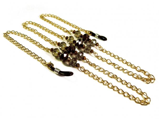 Goldfarbene Brillenkette mit Perlen aus geschliffenem Kristallglas