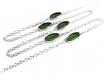 Silberfarbene Brillenkette mit grünen ovalen Kristallglasperlen