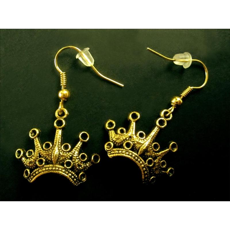 Goldene Prinzessin Ohrhänger mit Krone aus Messing