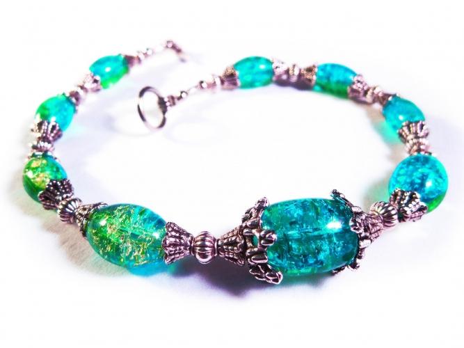 Türkisgrün silberfarbenes Fußkettchen mit Glasperlen