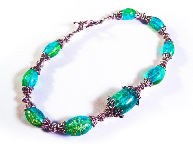 Türkisgrün silber Fußkettchen mit Glasperlen und Tibetsilber - Trachtenschmuck Dirndlschmuck