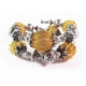 Barocke 2-reihige gold-silberfarbene Armspirale aus Metallperlen - Barocker Schmuck