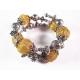 2-reihige gold-silberfarbene Armspirale aus Metallperlen