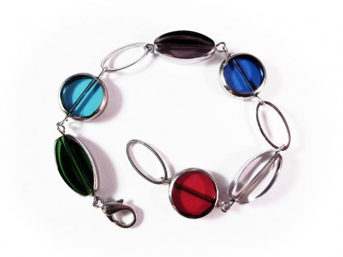 Mehrfarbiges Armband bunte Armkette mit Glasperlen mit Silberrand - Glasschmuck