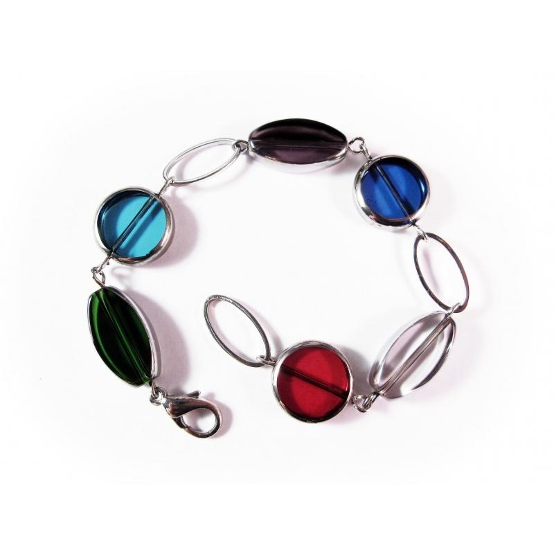 Buntes Armband bunte Armkette mit Kristallglasperlen mit Silberrand - Glasschmuck