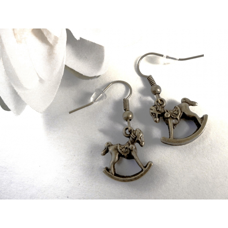 Bronze Schaukelpferd Ohrhänger