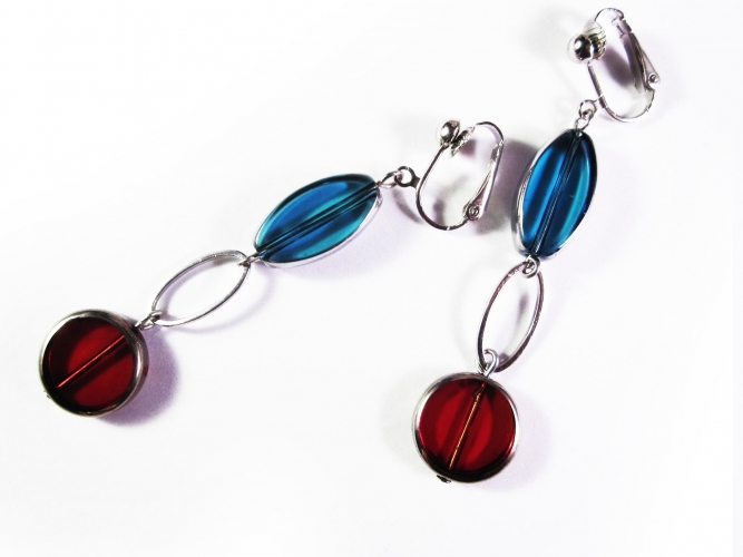 Lange türkis rote Ohrclips Ohrhänger aus Kristallglas mit Silberrahmen - Glasschmuck