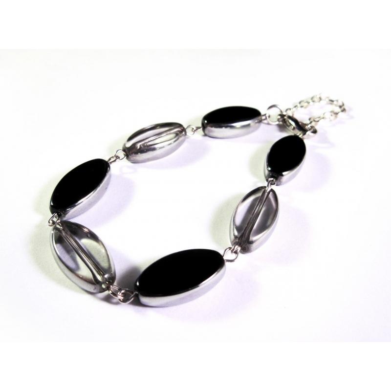 Schwarz weisses Armband / Armkette mit Kristallglasperlen mit Silberrand - Glasschmuck