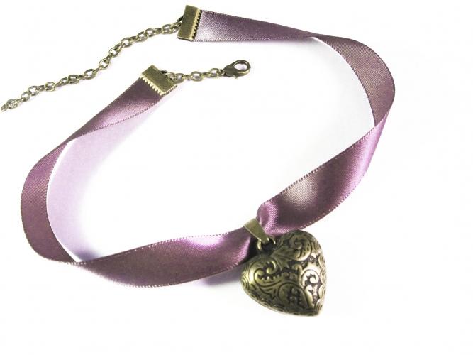 Lila Halsband mit bauchigem bronzefarben Trachtenherz - Trachtenschmuck Dirndlschmuck