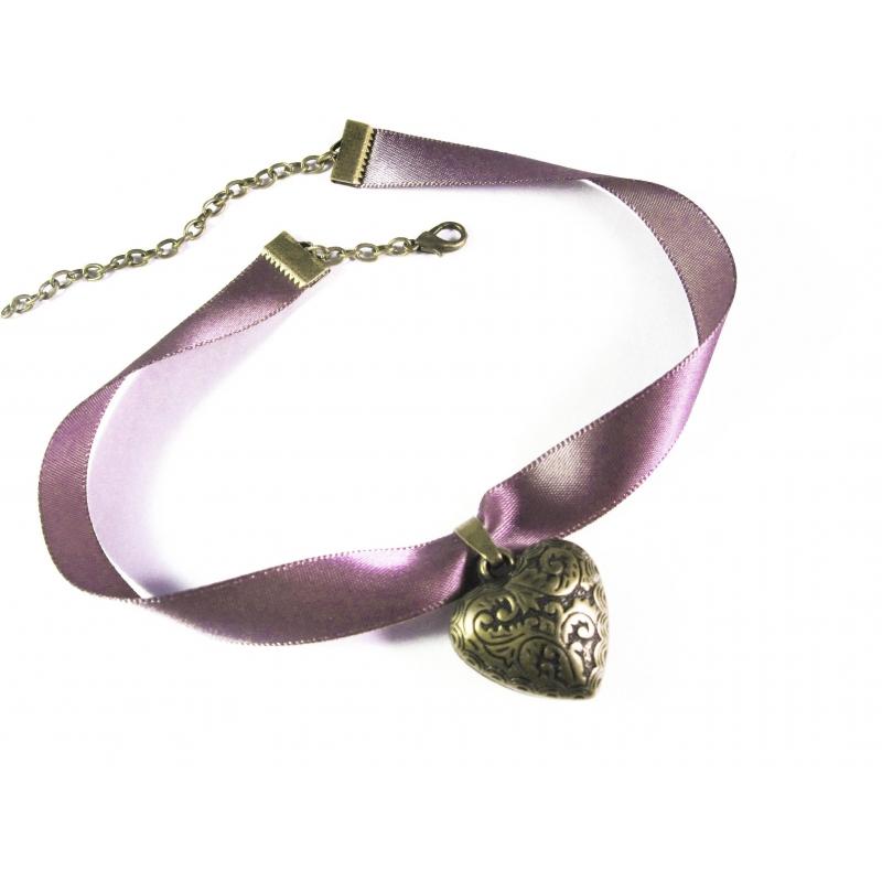 Lila Halsband mit filigranem Trachtenherz in bronze - Trachtenschmuck Dirndlschmuck
