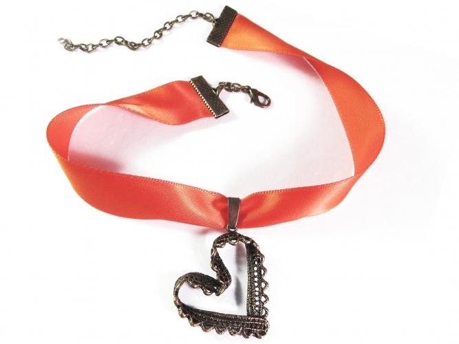 Orange Kropfband mit großem filigranen Trachtenherz in bronzefarben - Trachtenschmuck Dirndlschmuck