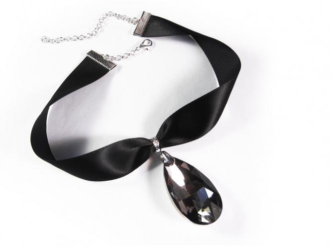 Schwarzes Kropfband mit geschliffenem grauen Glastropfen - Trachtenschmuck Dirndlschmuck