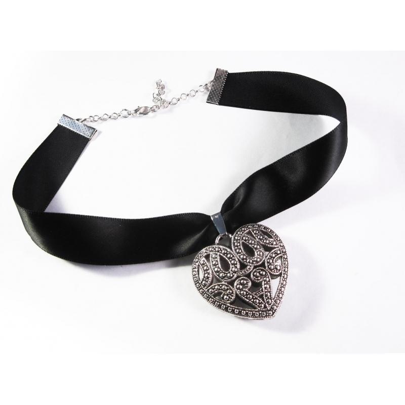 Schwarzes Kropfband mit großem filigranen Trachtenherz in silber - Trachtenschmuck Dirndlschmuck