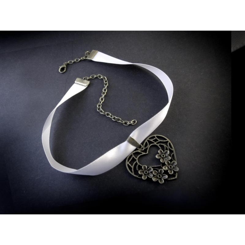 Hellgraues, schmales Halsband mit filigranem bronze Trachtenherz - Trachtenschmuck Dirndlschmuck