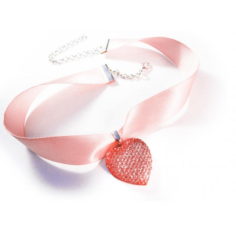 Rosa Halsband Kropfband mit hellrosa Strassherz - Trachtenschmuck Dirndlschmuck
