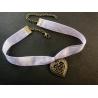 Fliederfarbenes Halsband Kropfband aus Organza mit bronze Trachtenherz - Trachtenschmuck Dirndlschmuck