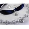Versilbertes Schmuckset an blauem Halsband mit Rose aus Anhänger, Armband und Ohrringen - Trachtenschmuck Dirndlschmuck
