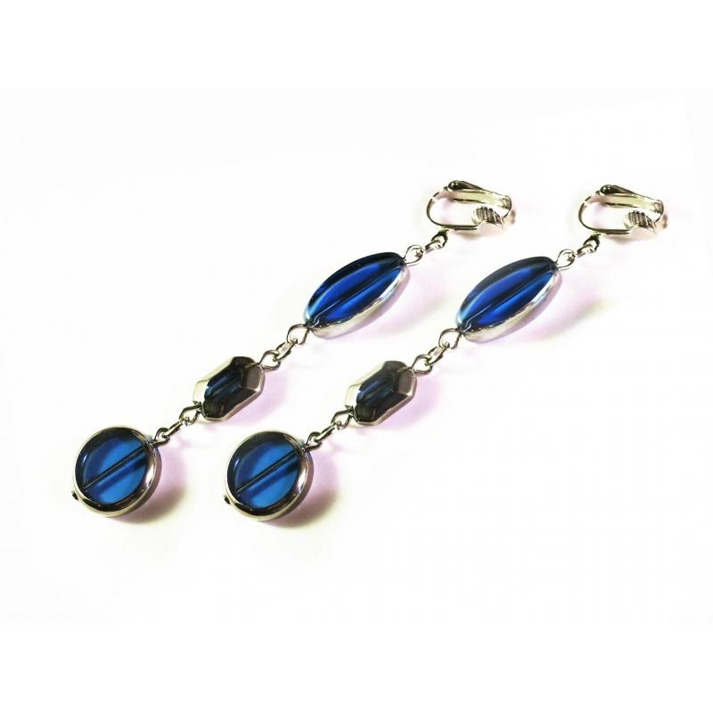 Lange blaue Ohrclips dreigliedrige Ohrhänger CLIPS aus flachen Kristallglasperlen mit Silberrand