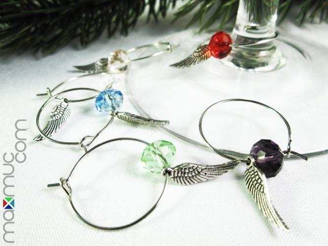 6 Bunte Weinglasringe mit Engelsflügel als Weihnachtsdeko - Tischdeko für Weihnachten