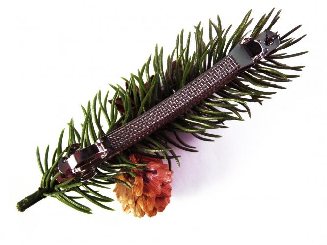 Weihnachts Haarspange mit Tannenzweig und Weihnachtsdeko UNIKAT - Weihnachten Haarschmuck