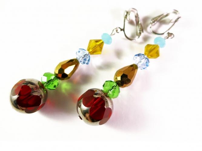 Lange bunte Ohrclips Ohrhänger CLIPS aus geschliffenen Glasperlen - Bunter Glasschmuck