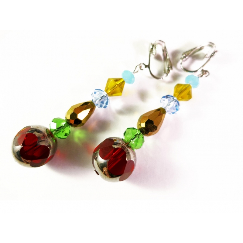Lange bunte Ohrclips Ohrhänger CLIPS aus geschliffenen Kristallglasperlen - Bunter Glasschmuck