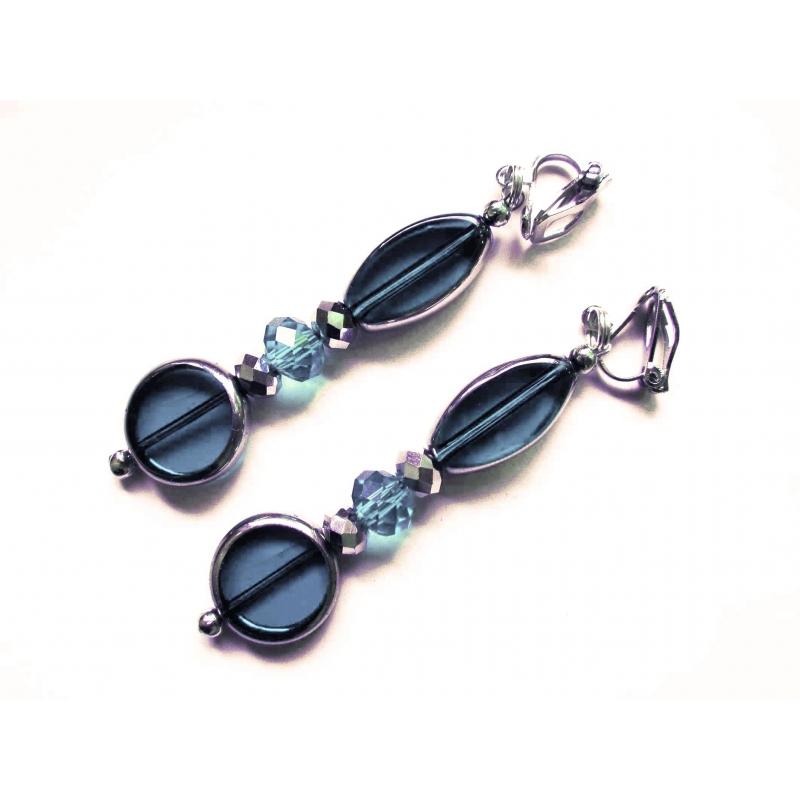 Lange Blaue Ohrclips Ohrhänger aus Kristallglas mit Silberrand