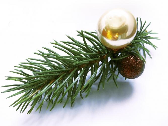 Braun- cremefarbene Weihnacht Haarspange m. Tannenzweig und Kugeln - Haarschmuck