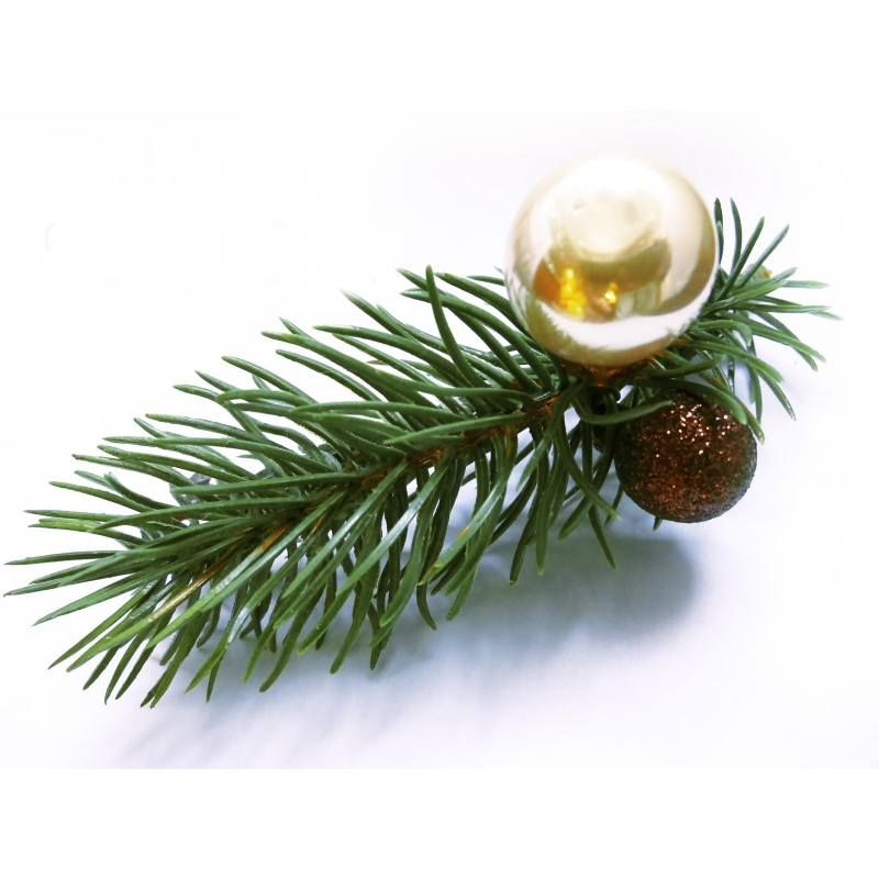 Große Weihnachts Haarspange mit Tannenzweig und Weihnachtskugeln - Weihnachten Haarschmuck