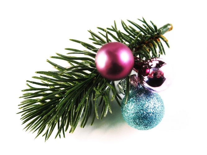 Grün, pink blaue Weihnachts Haarspange mit Tannenzweig und Kugel - Haarschmuck