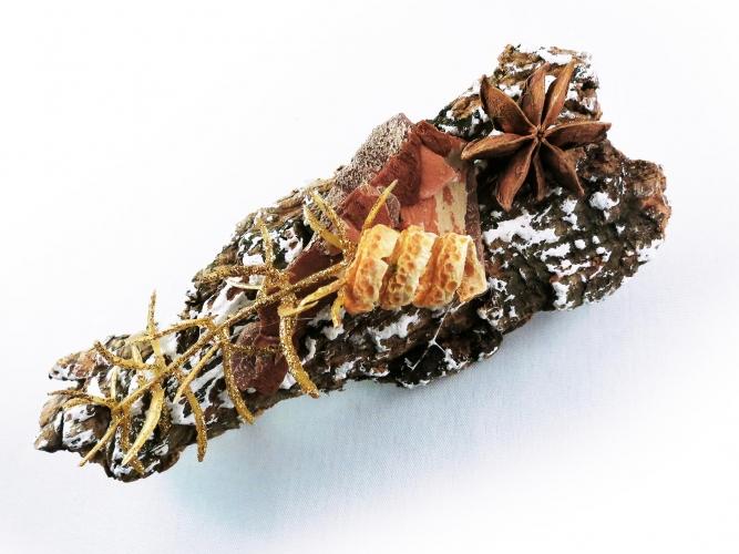 Weihnachts Haarspange mit Rinde und Weihnachtsdeko UNIKAT - Haarschmuck
