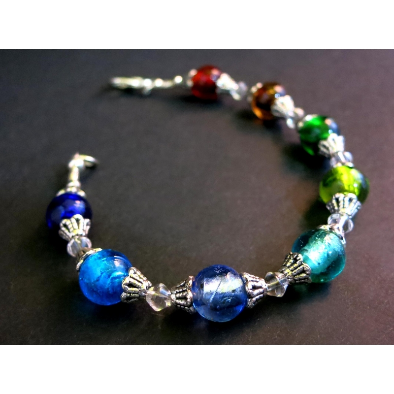 Armband mit bunten Glasperlen und Tibetsilber - Bunter Glasschmuck