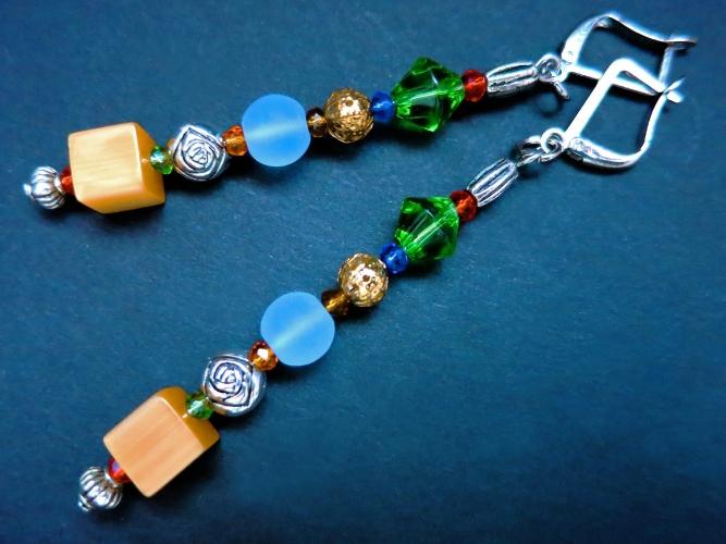Orange bunte Ohrhänger mit bunten Glasperlen gold und silber - bunter Glasschmuck