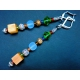 Bunten Ohrhänger mit Glas- und Metallperlen goldfarben und silberfarben - bunter Glasschmuck