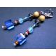 Blau bunte Ohrhänger mit bunten Glasperlen goldfarben und silberfarben - bunter Glasschmuck