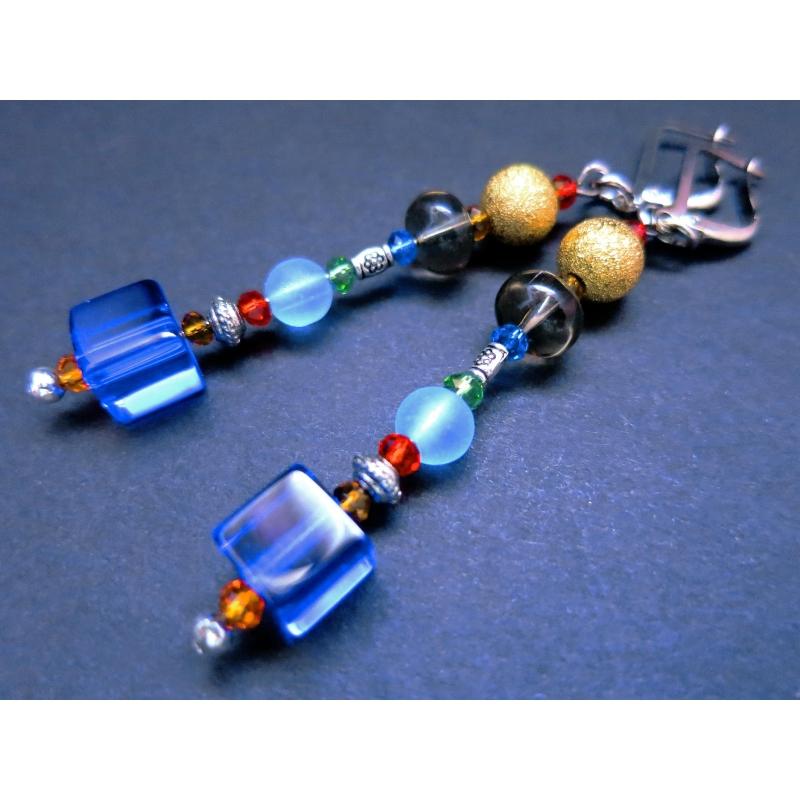 Blau bunte bunte Ohrhänger mit bunten Glasperlen gold und silber - bunter Glasschmuck
