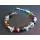 Armband mit bunten Glasperlen und Bergkristall UNIKAT - Bunter Glasschmuck
