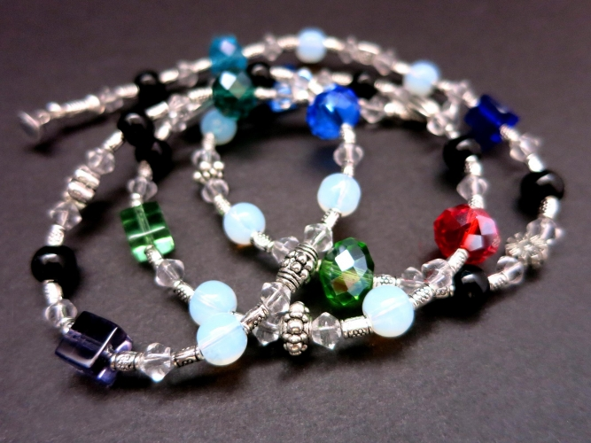 Filigrane Halskette mit farbigen Glasperlen 59cm - Bunter Glasschmuck
