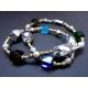 Halskette 40cm aus bunten Glasperlen mit silbernen und goldenen Spacern - Glasschmuck