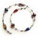 Filigrane Halskette 46cm mit farbigen Kristallglasperlen und Tibetsilber - Bunter Glasschmuck
