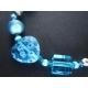 Türkises Fußkettchen mit irisierenden Glasperlen und Tibetsilber - Trachtenschmuck Dirndlschmuck