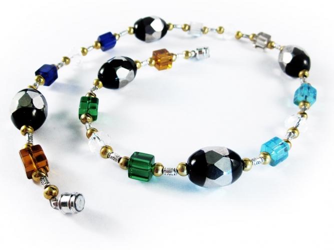 Bunte Halskette mit schwarz silber Kristallperlen - bunter Glasschmuck