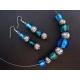 Blaugrün silberfarben Halskette mit Ohrringen Schmuckset