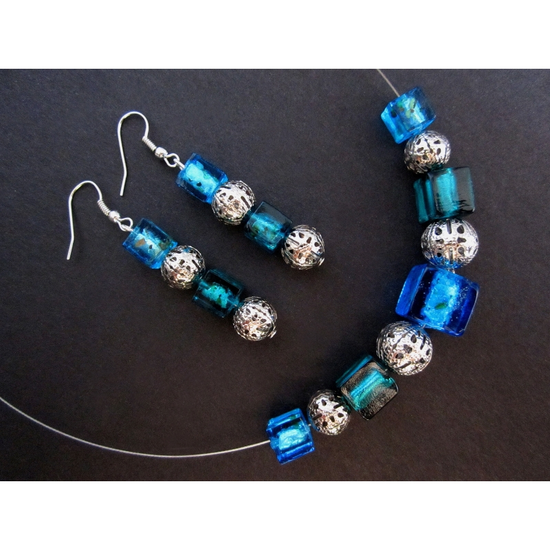 Blaugrün silber Halskette mit Ohrringen Schmuckset
