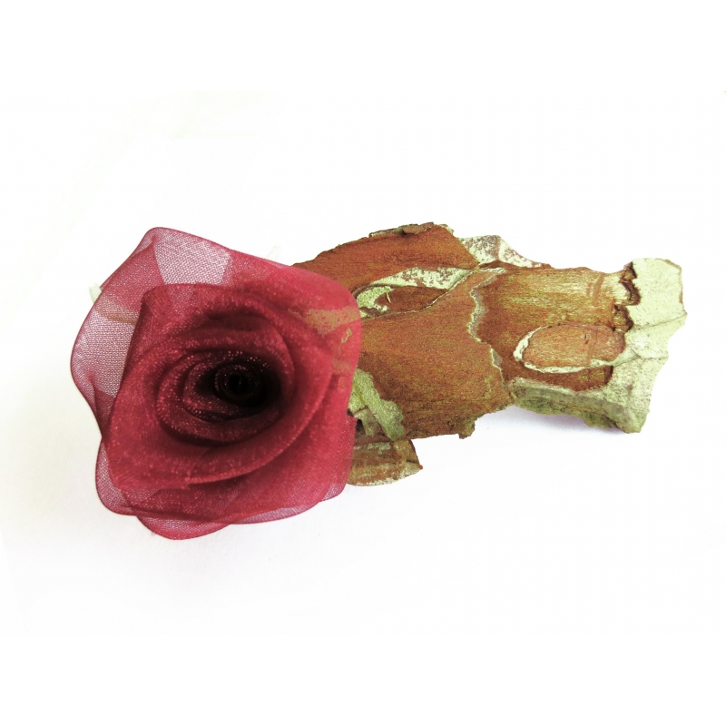 Haarspange mit Rinde und roter Rose UNIKAT - Haarspange Haarschmuck