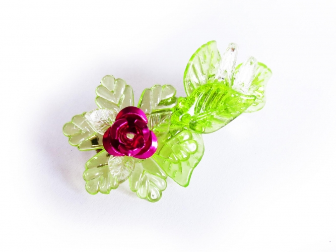 Hellgrüne Haarspange mit Blättern und pinker Rose - Haarspange Haarschmuck