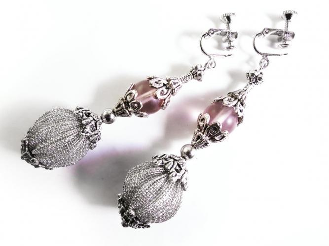 Lange Ohrclips im barocken Stil mit silber Elementen - Barocke Ohrhänger - Trachtenschmuck Dirndlschmuck